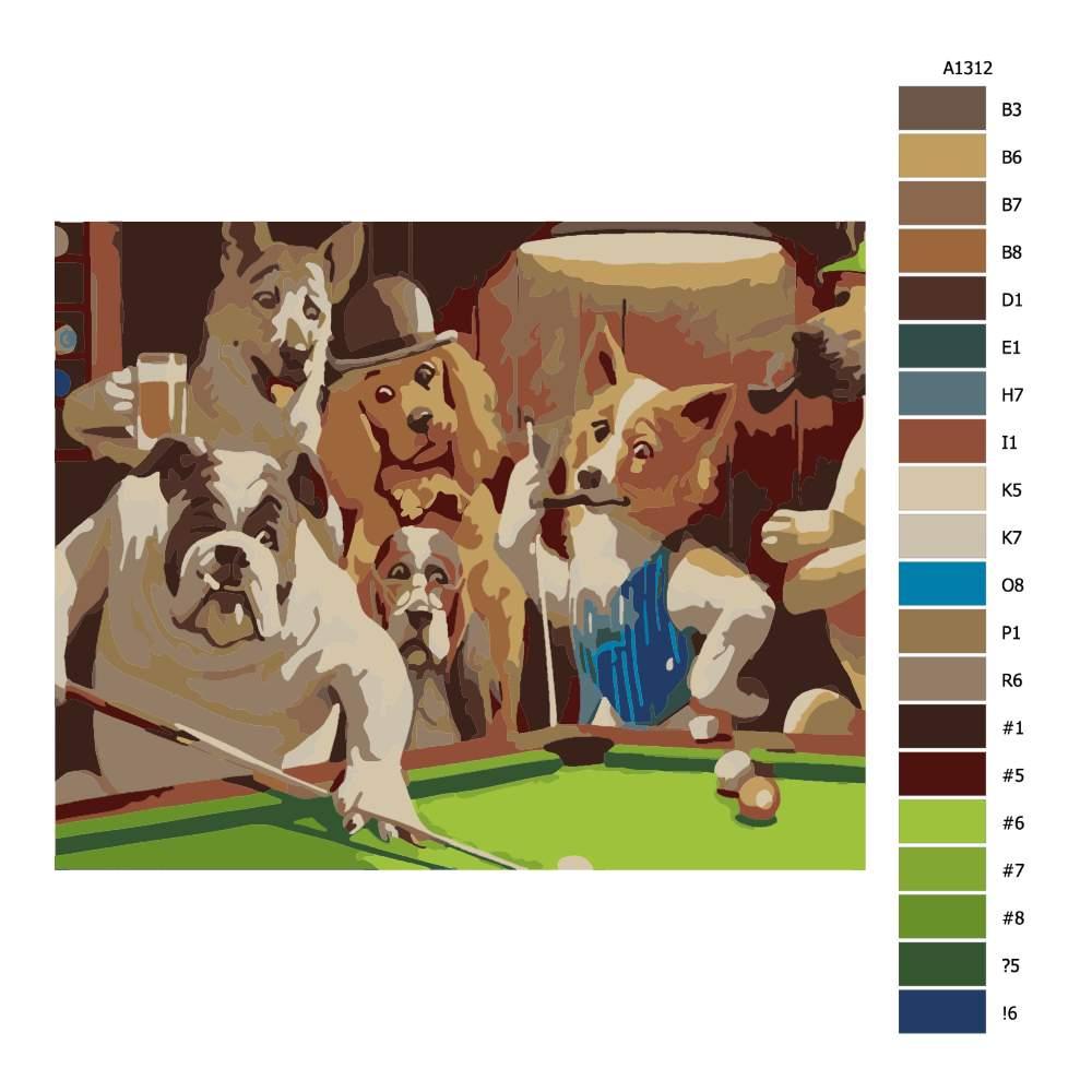Návod pro malování podle čísel Psi u kulečníku