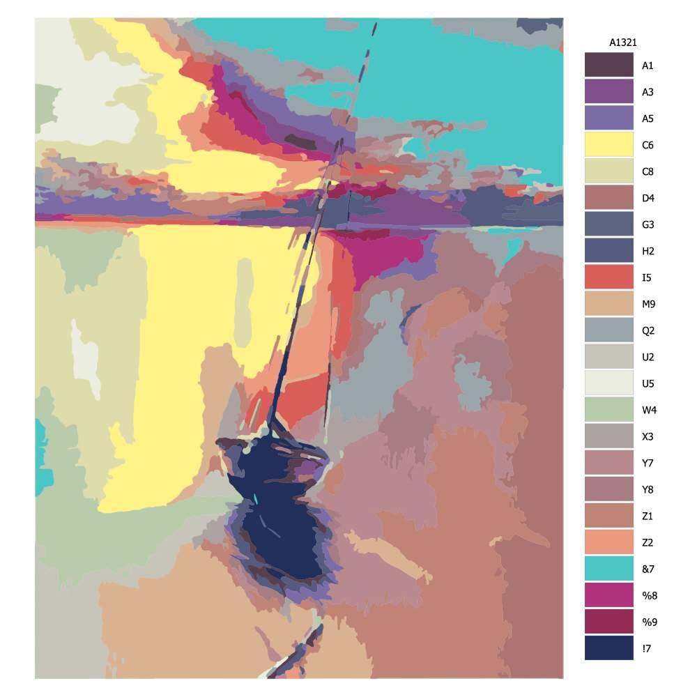 Návod pro malování podle čísel Loď v zátiší