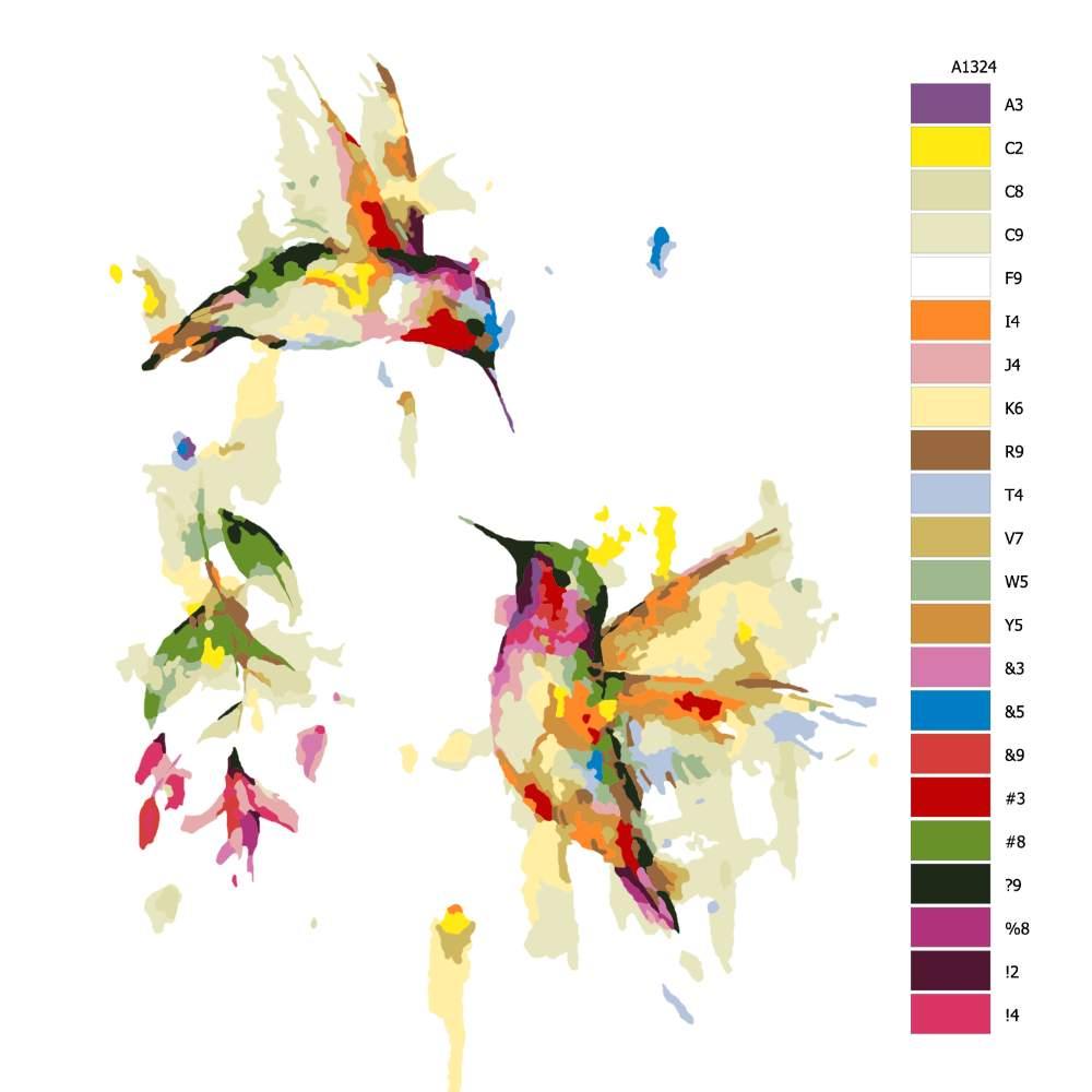 Návod pro malování podle čísel Dva kolibříci