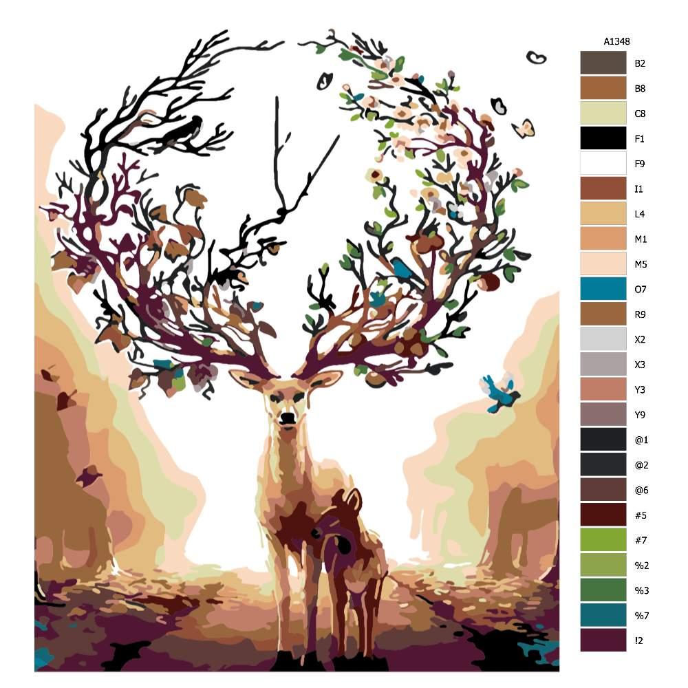 Návod pro malování podle čísel Los s korunou