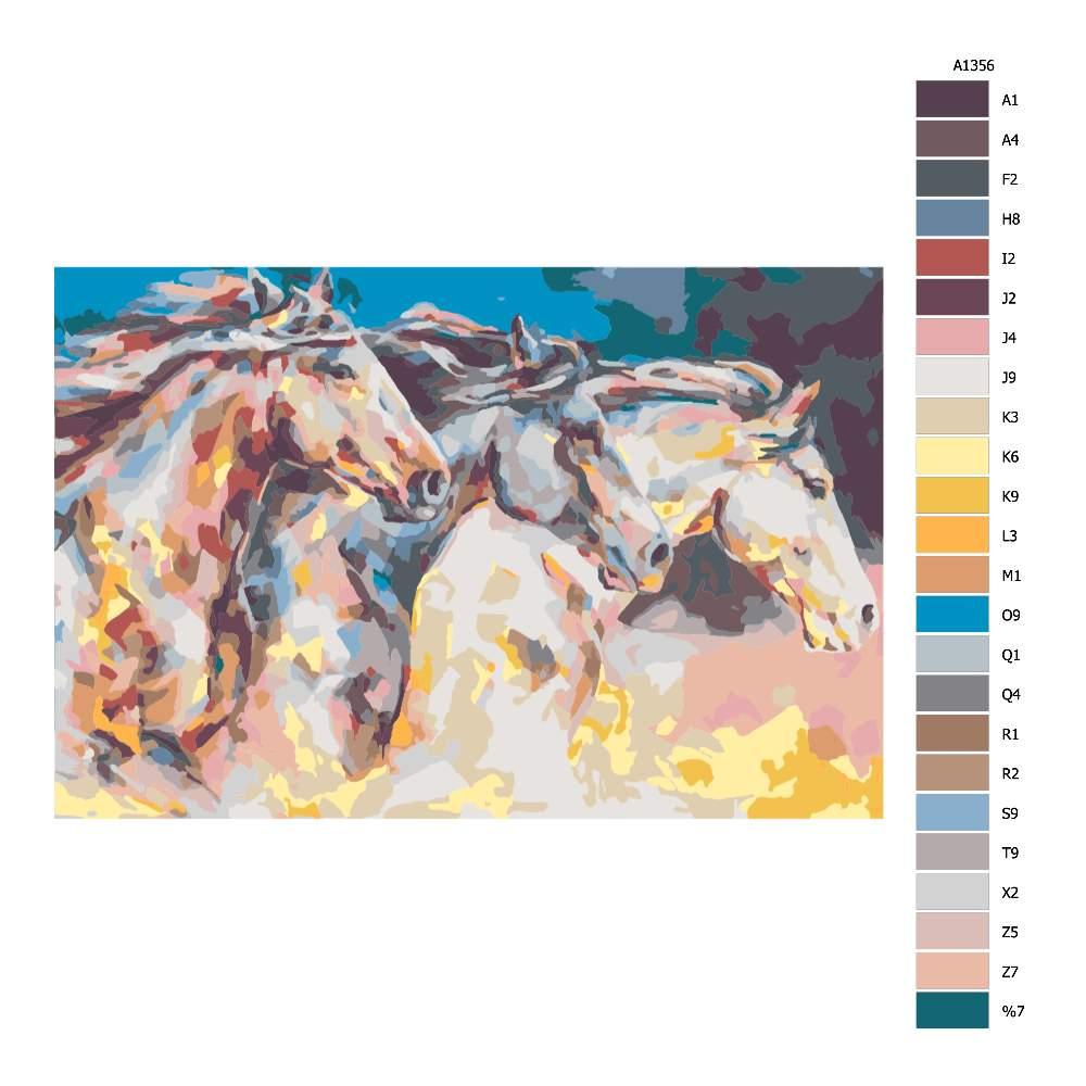 Návod pro malování podle čísel Koně v běhu