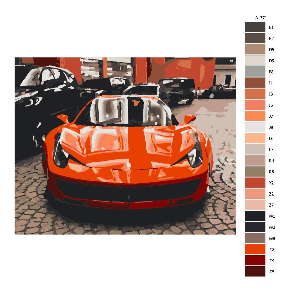 Návod pro malování podle čísel Červené Ferrari