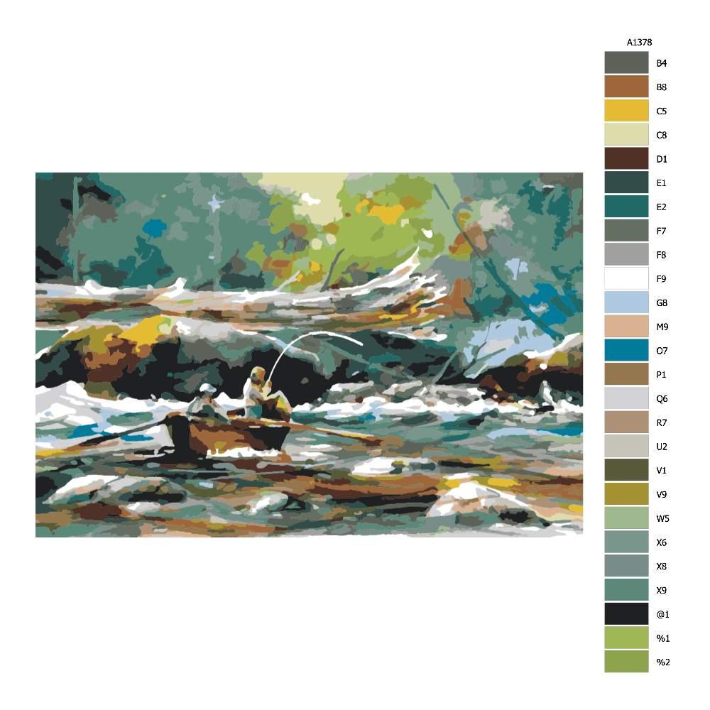 Návod pro malování podle čísel Rybaření z loďky