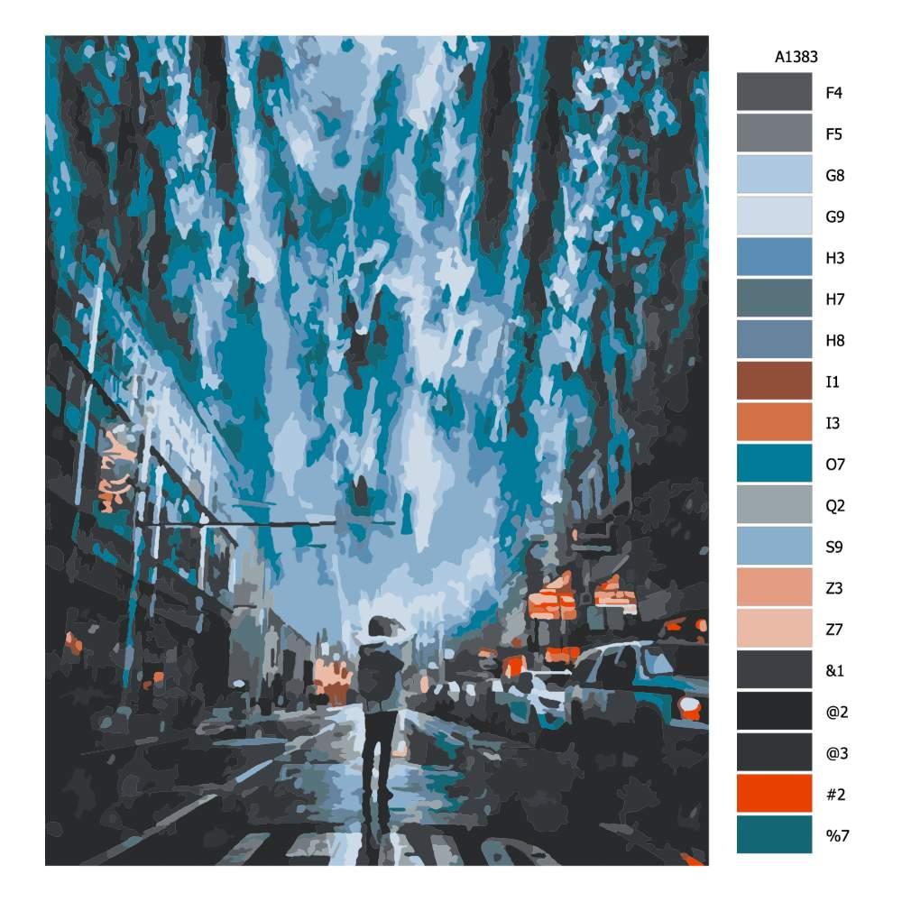 Návod pro malování podle čísel Město před potopou