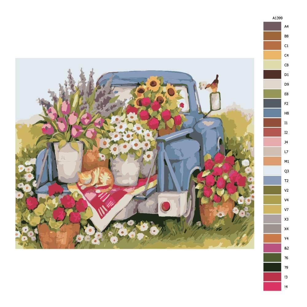 Návod pro malování podle čísel Auto plné květin