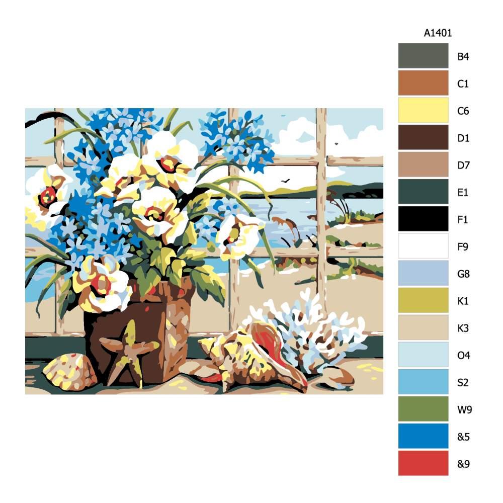 Návod pro malování podle čísel Květiny s výhledem na moře