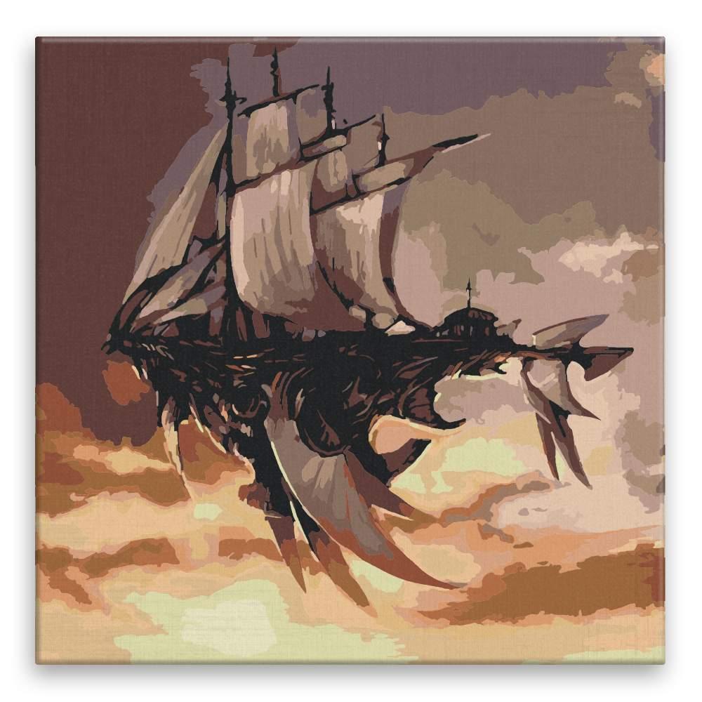 Malování podle čísel Loď v oblacích budoucnost