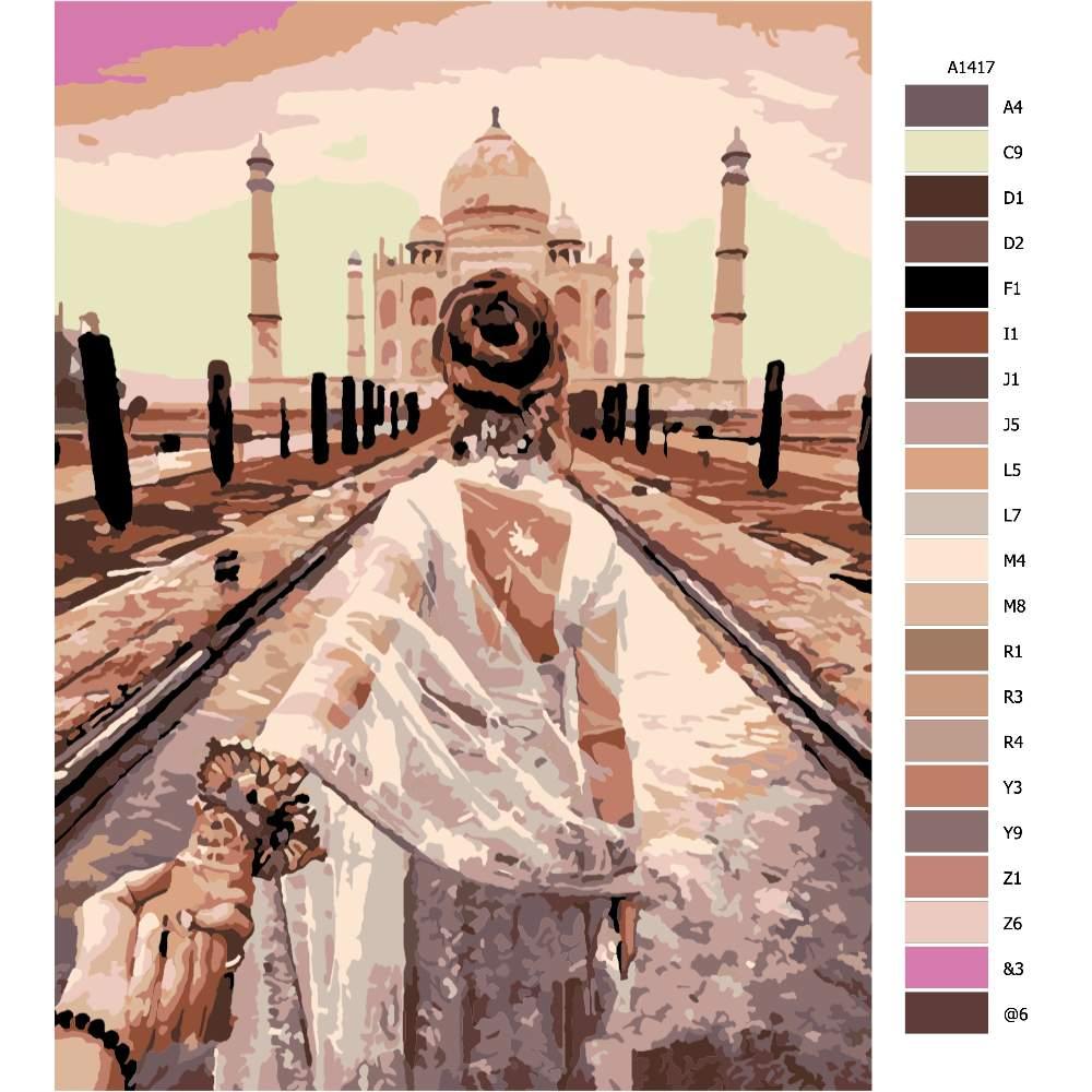 Návod pro malování podle čísel Pojď se mnou Taj Mahal