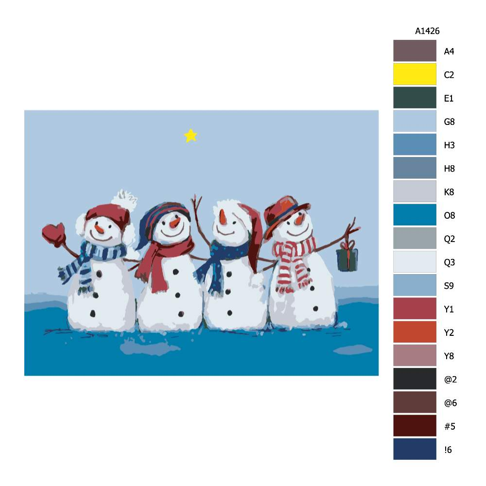 Návod pro malování podle čísel Čtyři sněhuláci