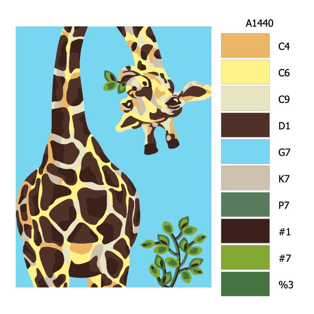 Návod pro malování podle čísel Nakukující žirafa