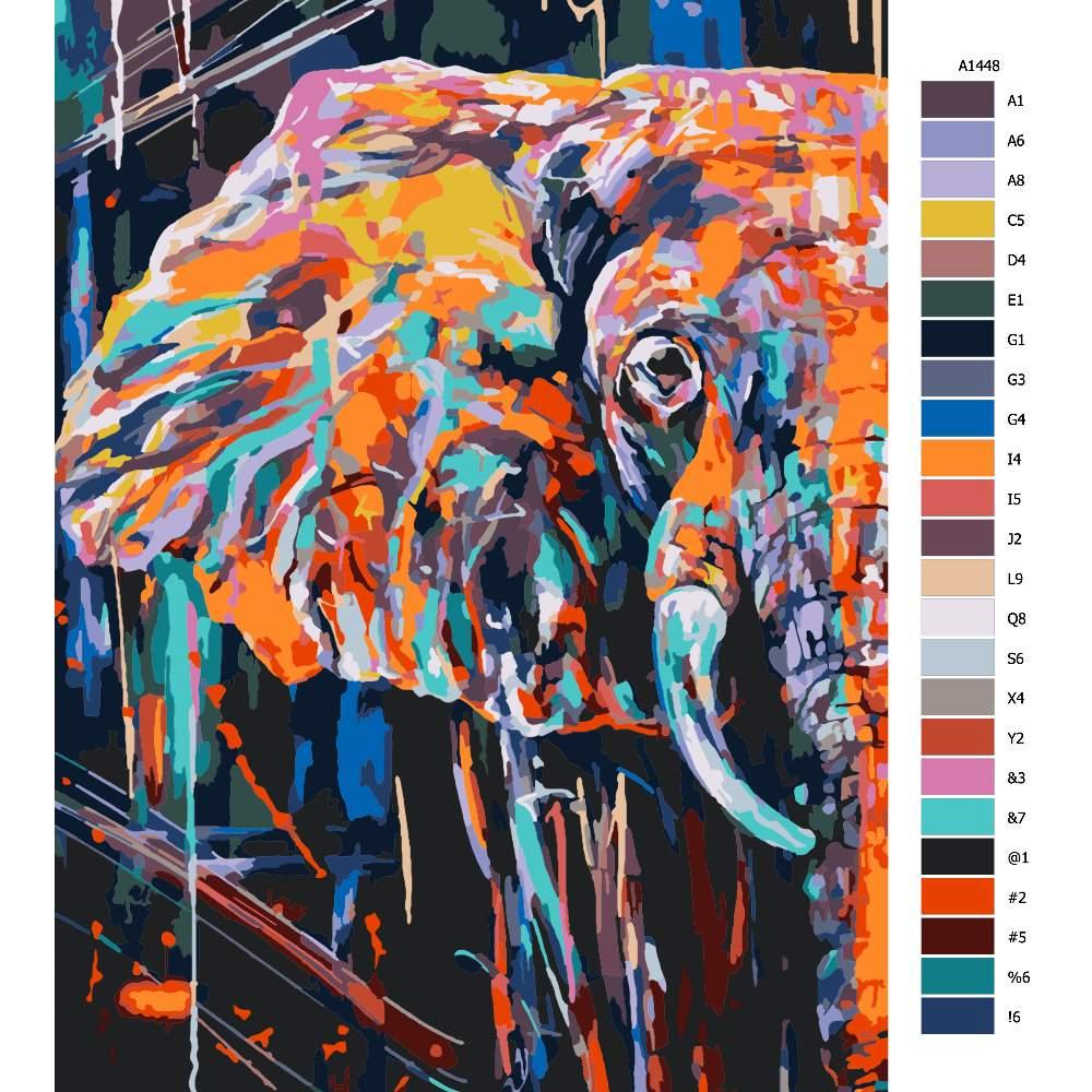 Návod pro malování podle čísel Slon z půlky v barvách