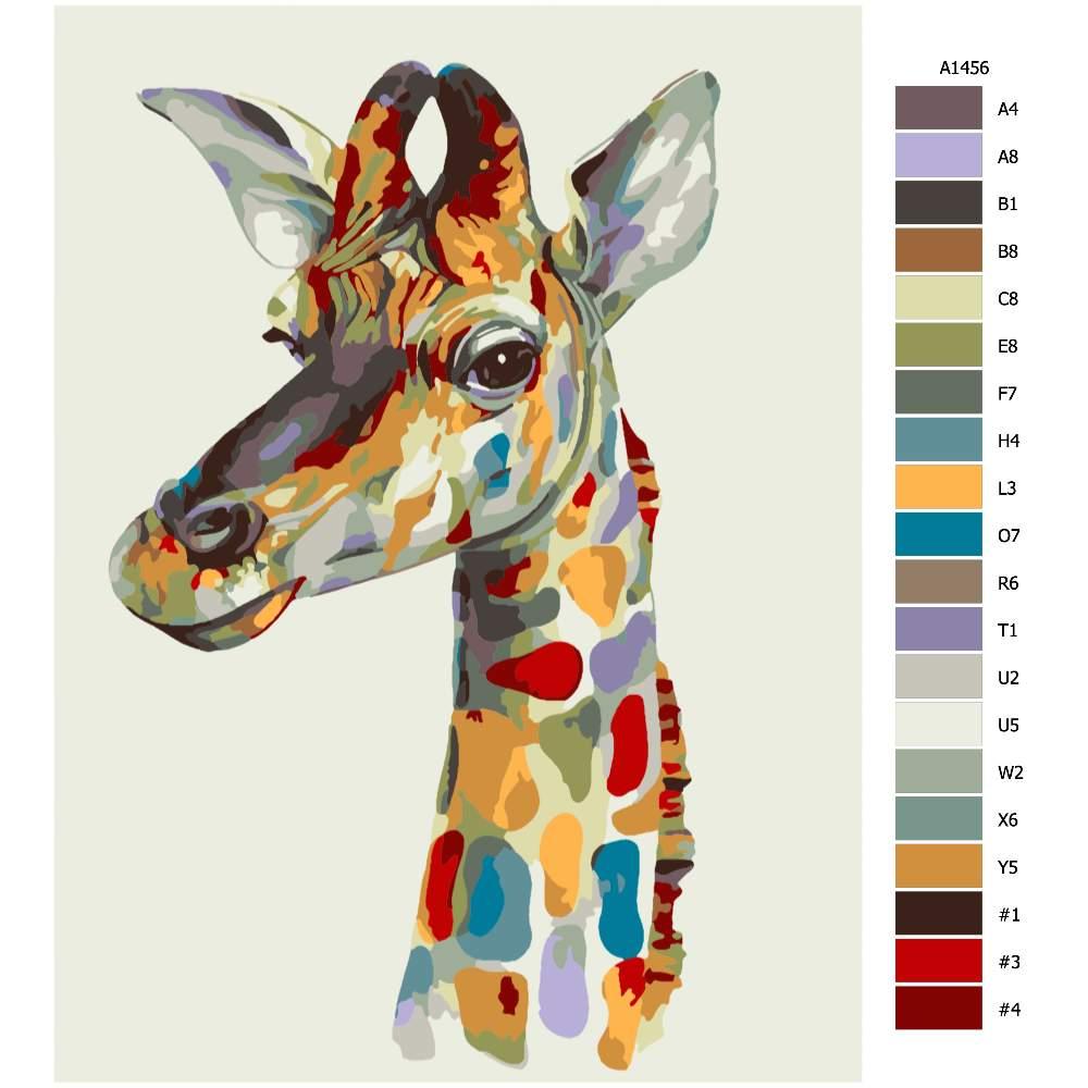 Návod pro malování podle čísel Pohled žirafy