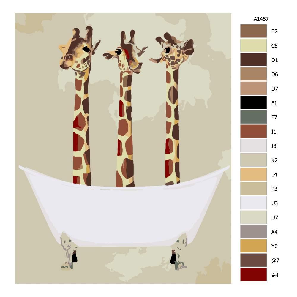 Návod pro malování podle čísel Žirafy ve vaně