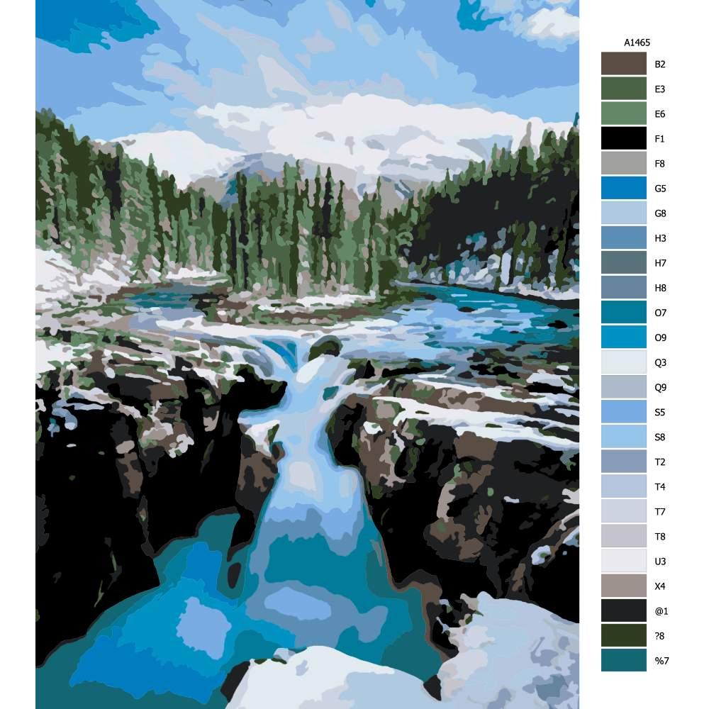 Malování podle čísel Horská řeka