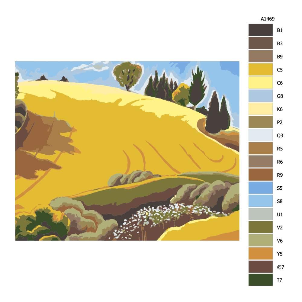 Návod pro malování podle čísel Zlaté pole