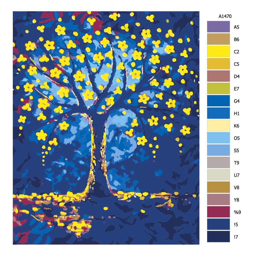 Návod pro malování podle čísel Zlaté květy