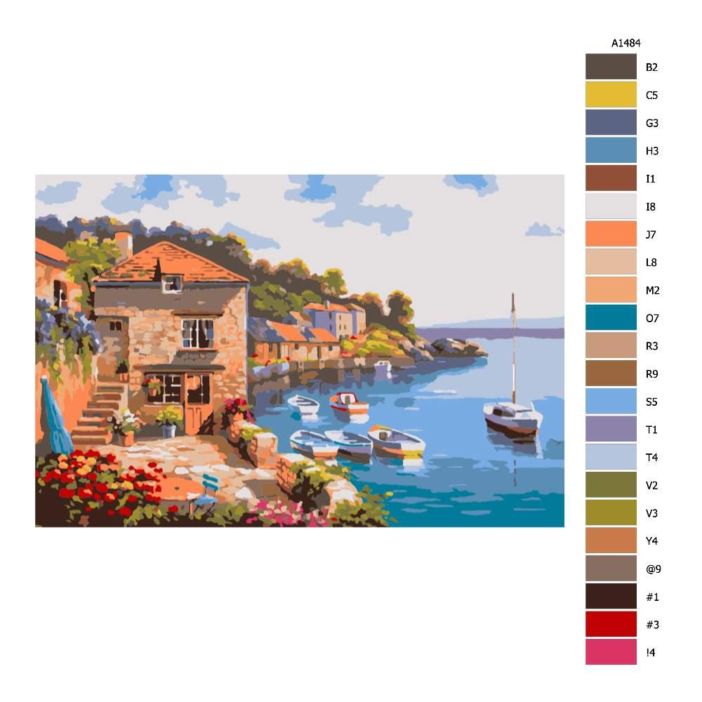 Návod pro malování podle čísel Přímořská zahrada