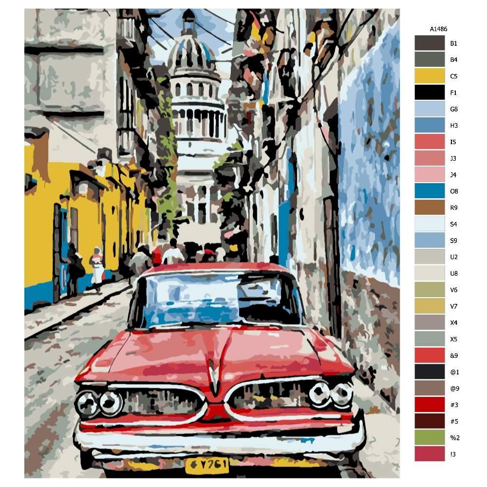 Návod pro malování podle čísel Na ulici v Havaně