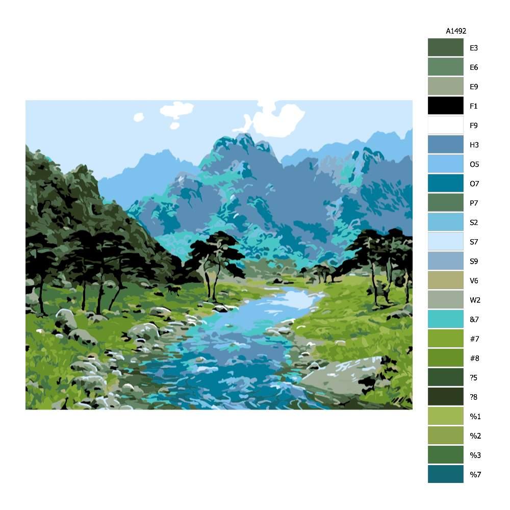 Návod pro malování podle čísel Skryté údolí