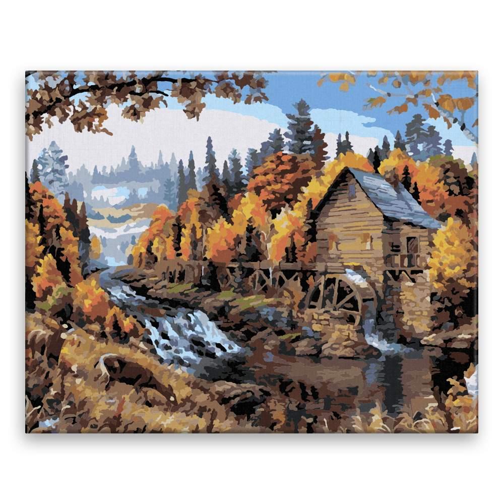 Malování podle čísel Mlýn v přírodě