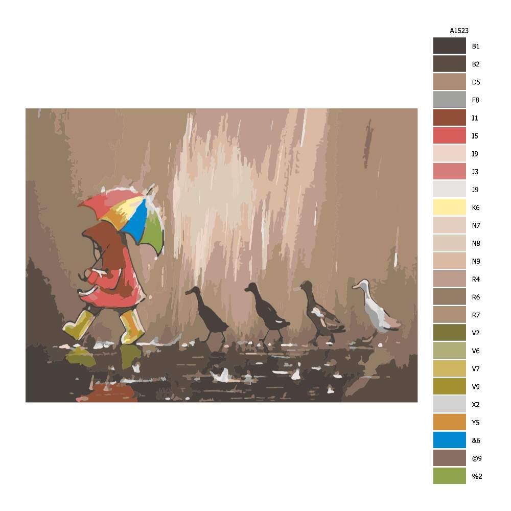 Návod pro malování podle čísel V nečase s kačenkami
