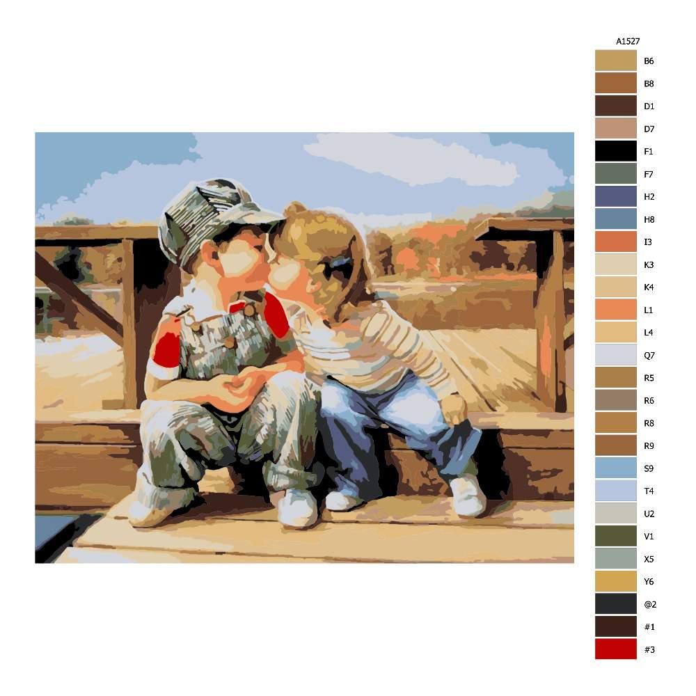 Návod pro malování podle čísel Dětská láska