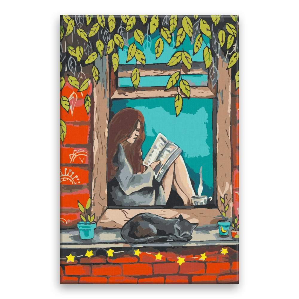 Malování podle čísel S knihou v okně