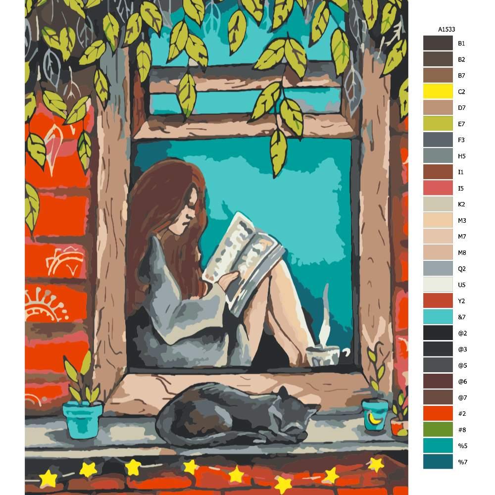 Návod pro malování podle čísel S knihou v okně