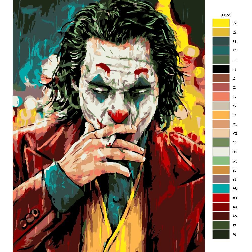 Návod pro malování podle čísel Joker s cigaretou