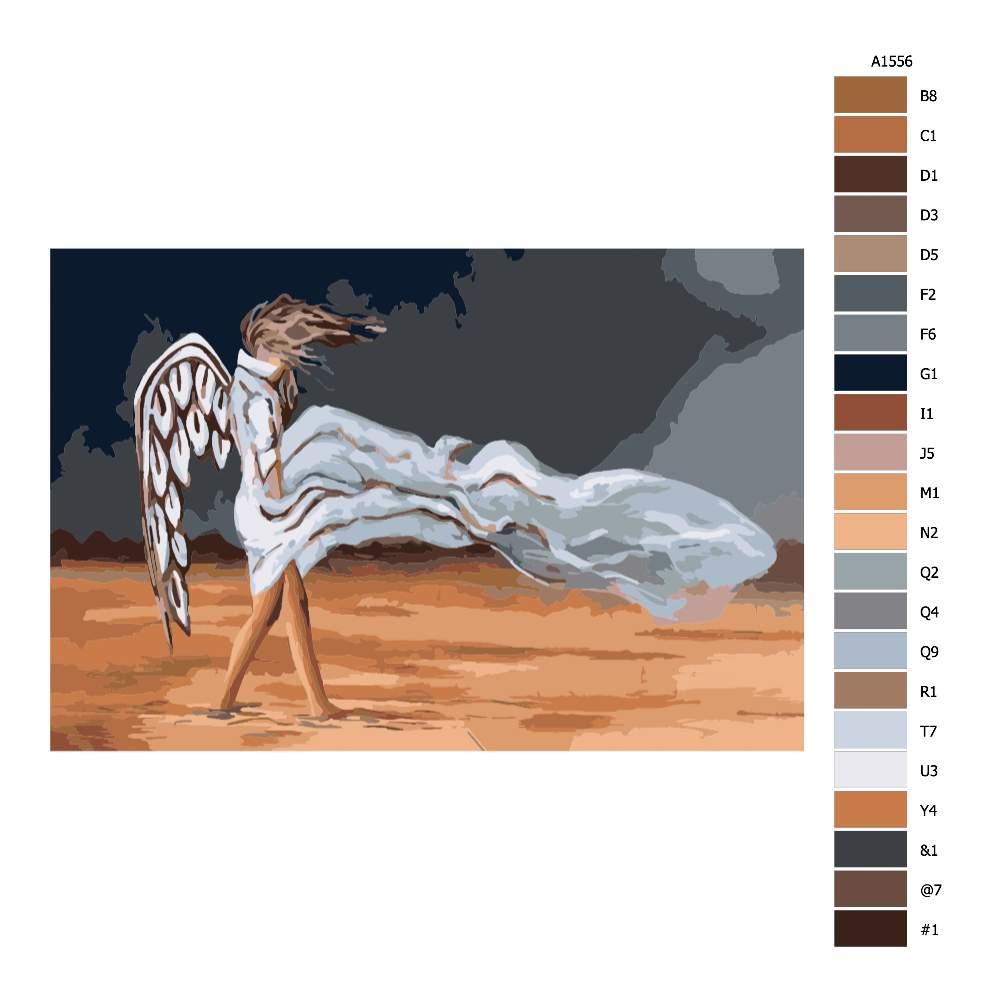 Návod pro malování podle čísel Anděl ve větru