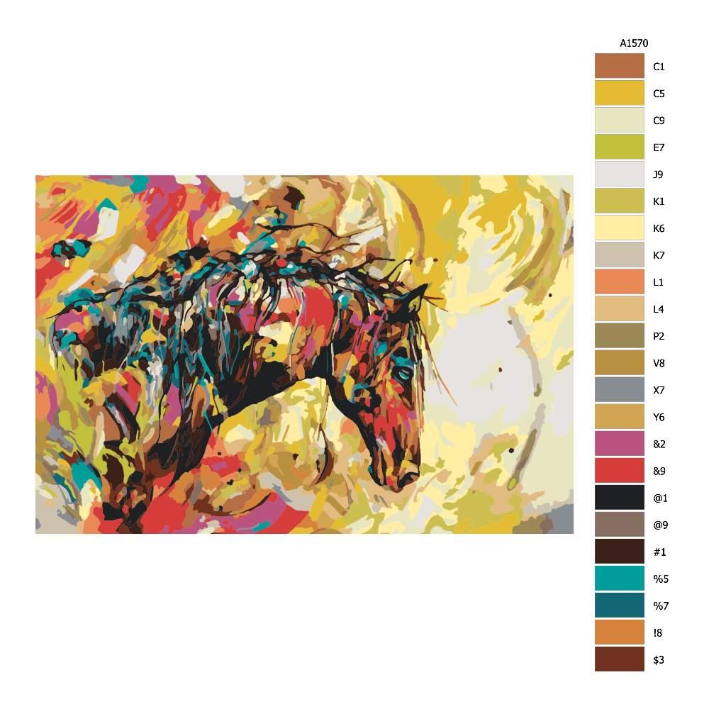 Návod pro malování podle čísel Pestrobarevný kůň
