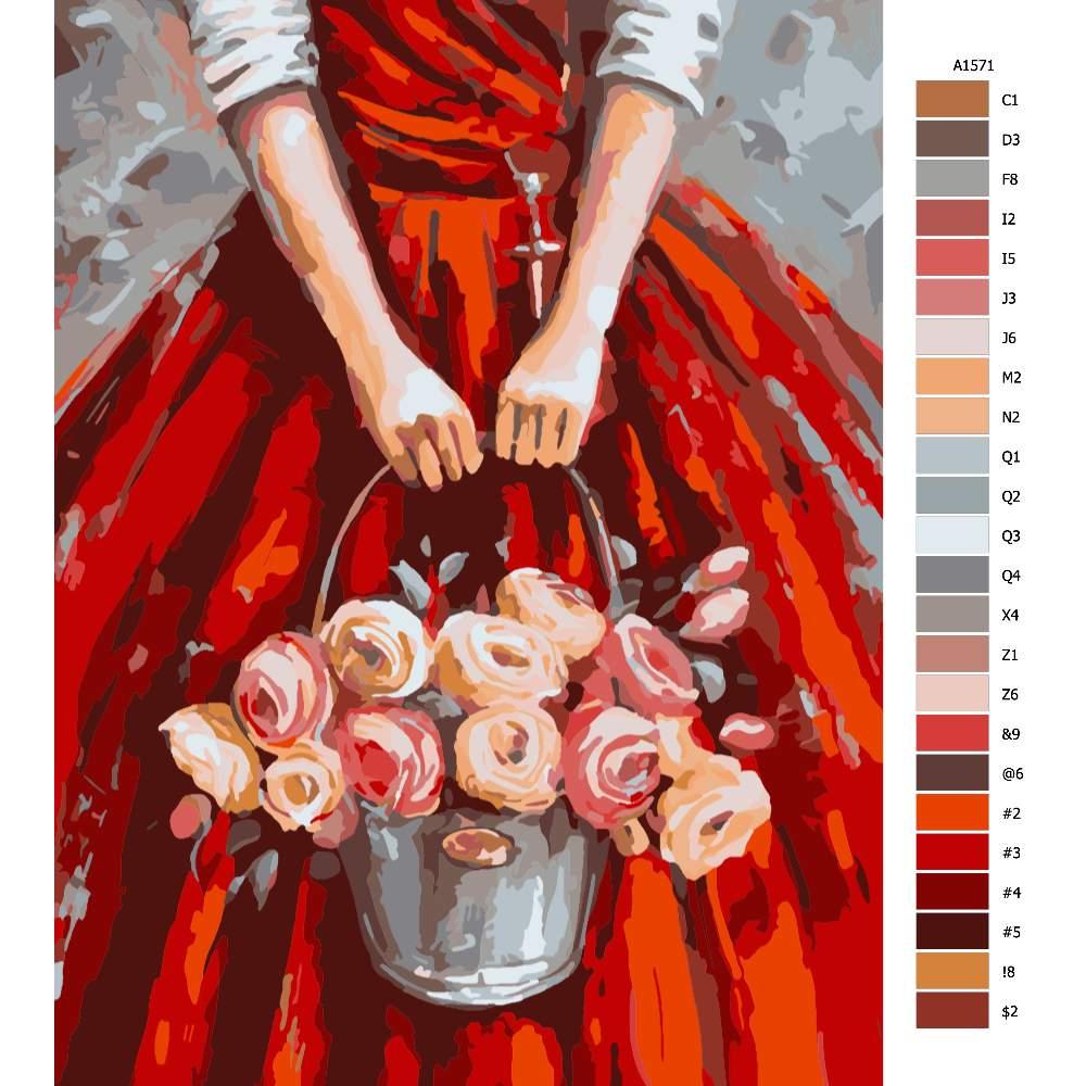 Návod pro malování podle čísel Věřící s růžemi