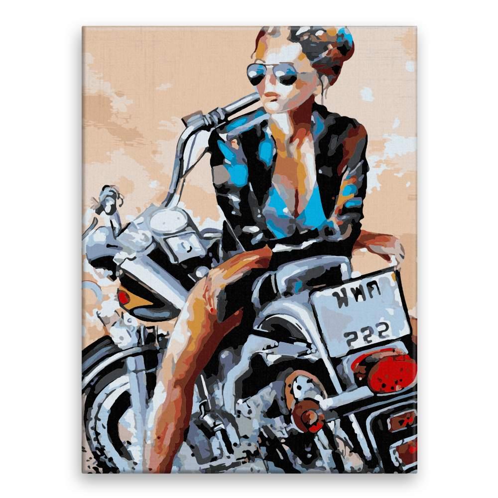 Malování podle čísel Kráska na motorce