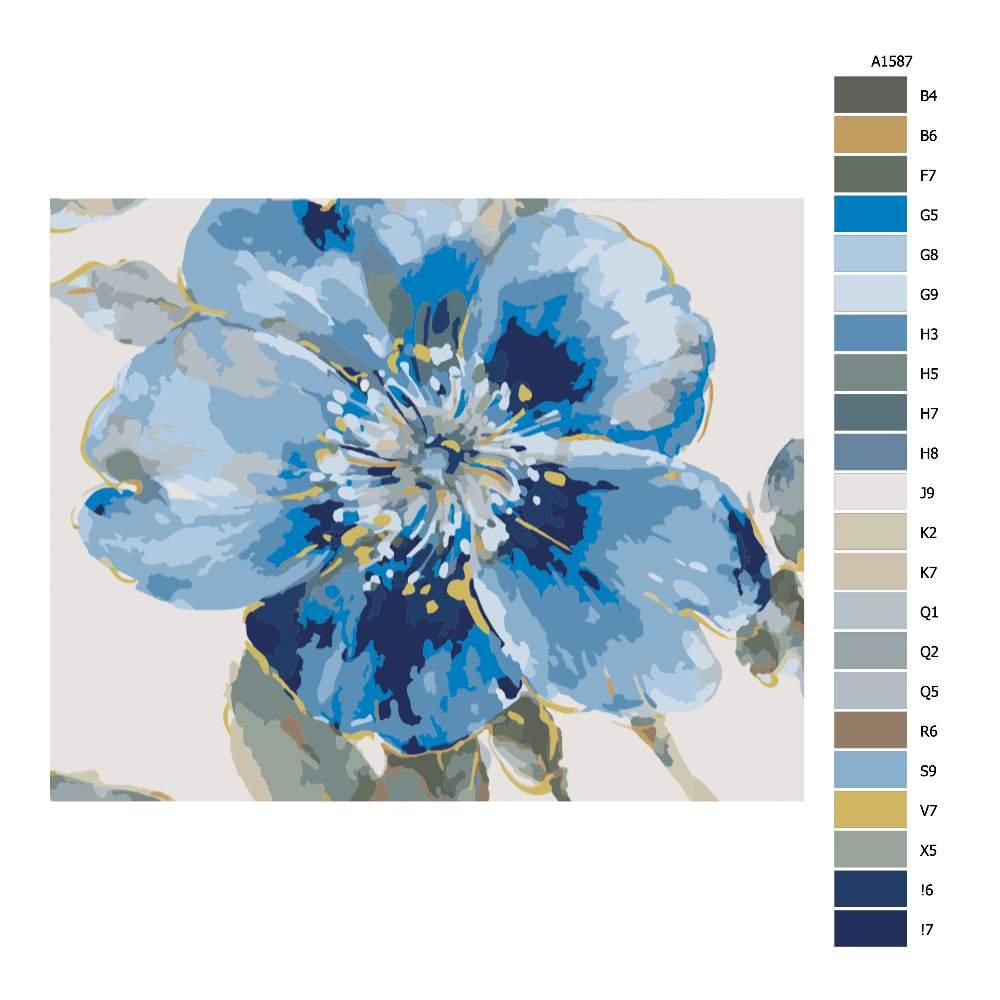 Návod pro malování podle čísel Modrý květ