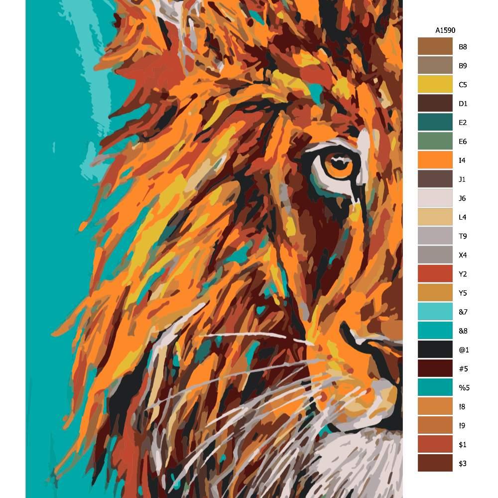 Návod pro malování podle čísel Lev s modrým pozadím