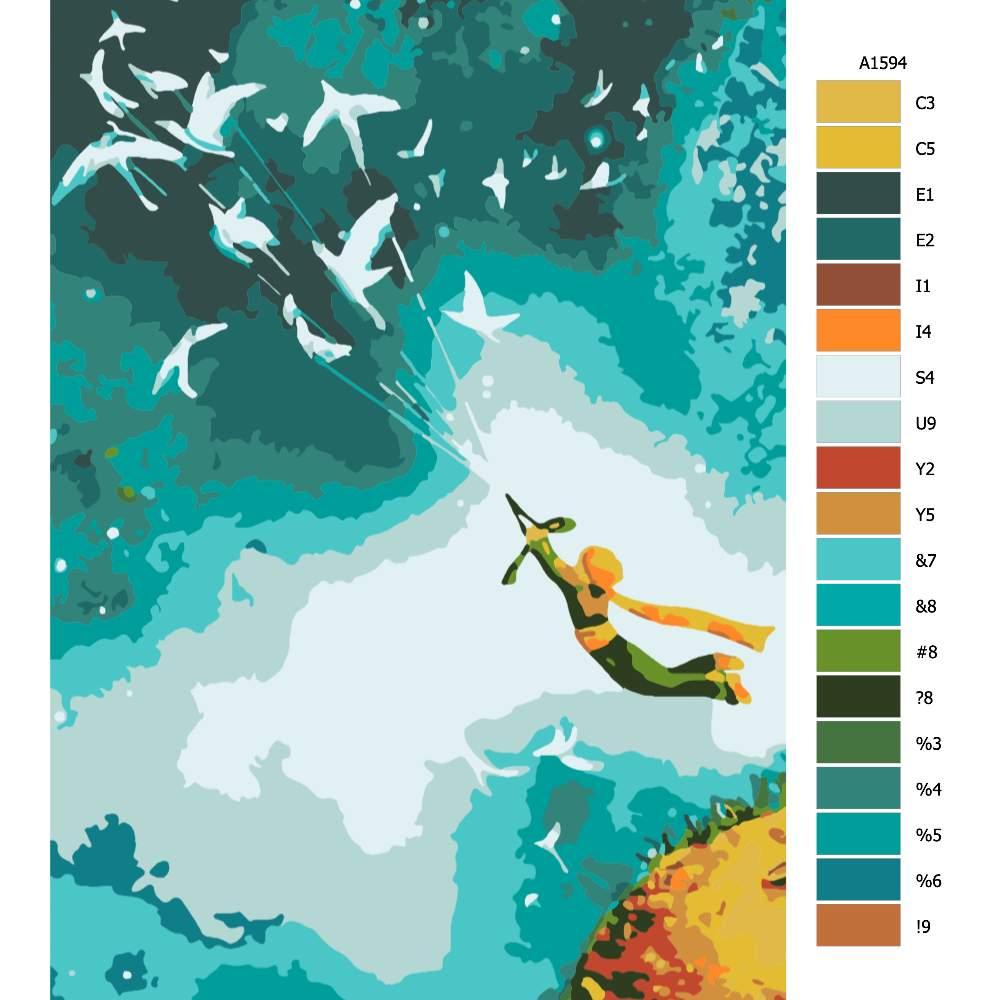 Návod pro malování podle čísel Letící malý princ
