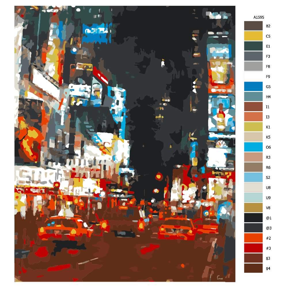 Návod pro malování podle čísel Rušná ulice