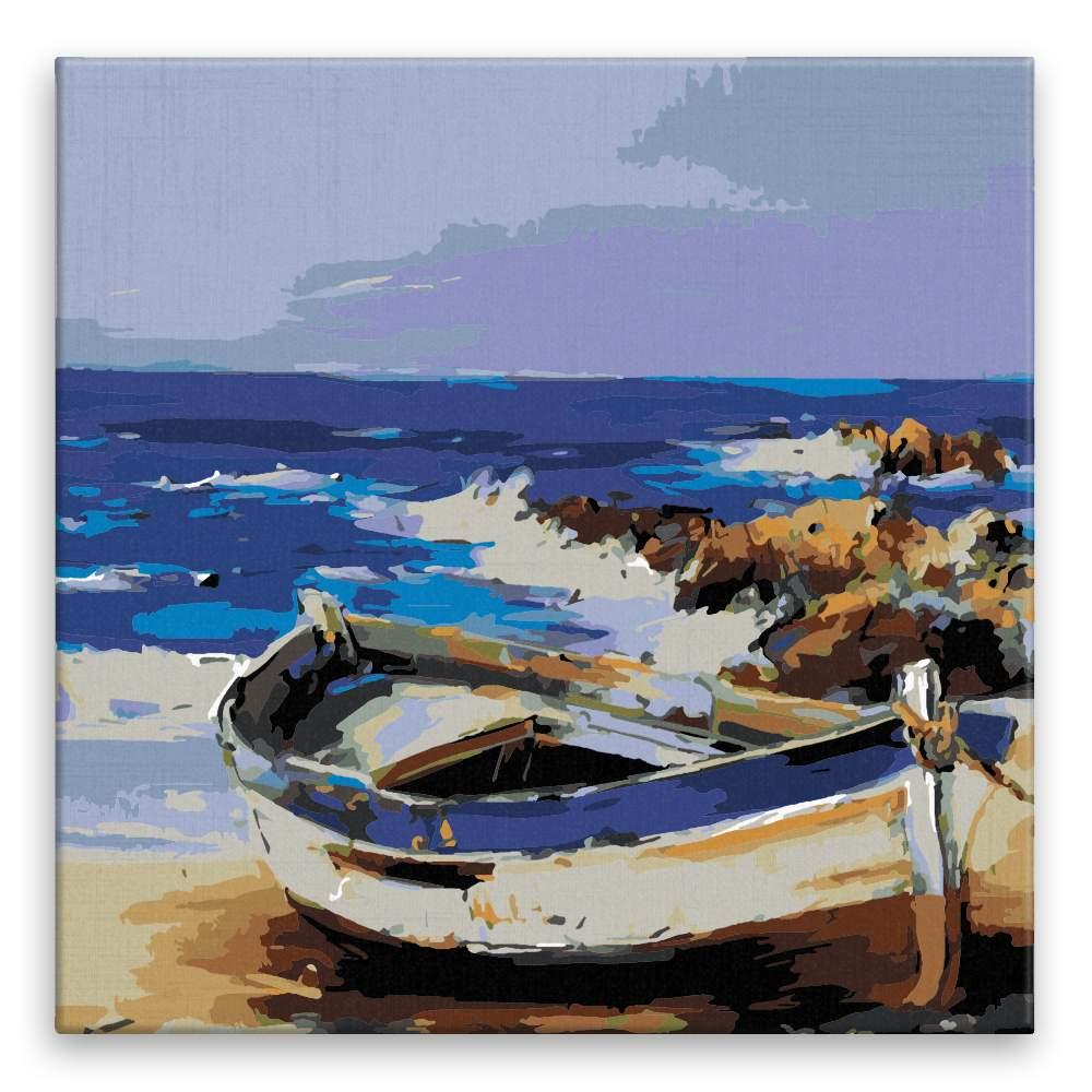 Malování podle čísel Loďka na pláži