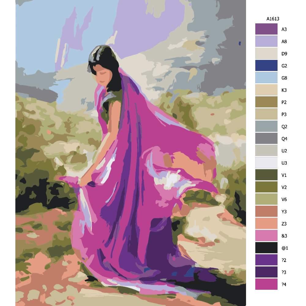 Návod pro malování podle čísel Tančící v Indii