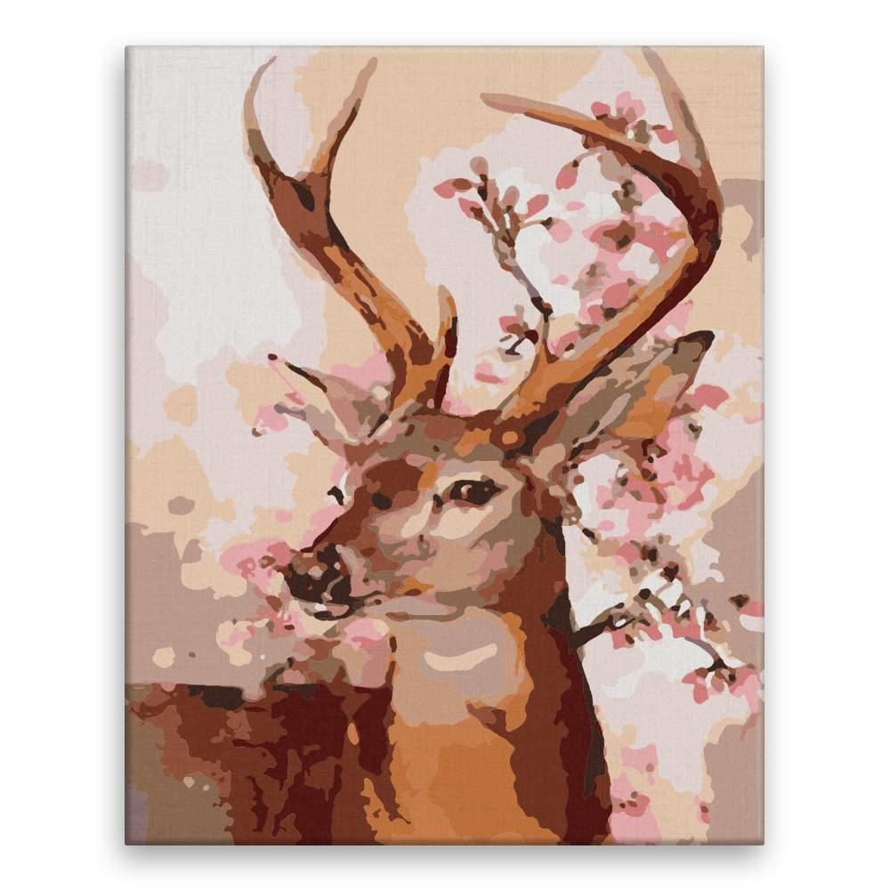 Malování podle čísel Jelen s růžovými květy