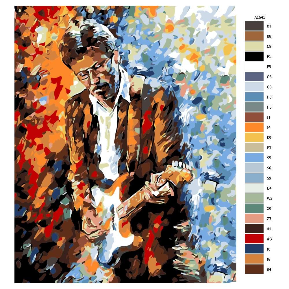 Návod pro malování podle čísel Eric Clapton v barvách