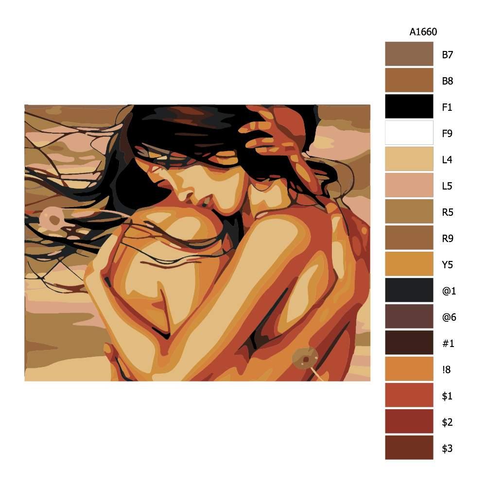 Návod pro malování podle čísel V hlubokém objetí
