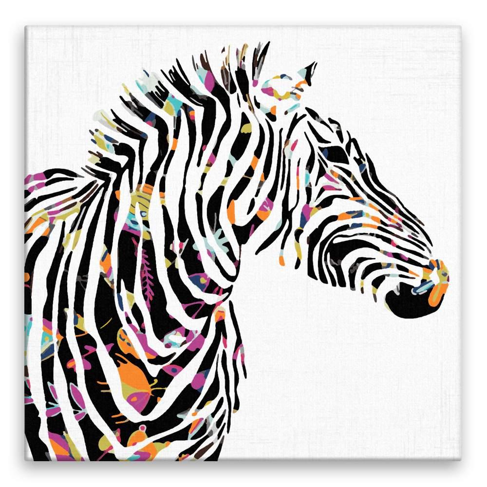 Malování podle čísel Zebra s květovanými pruhy