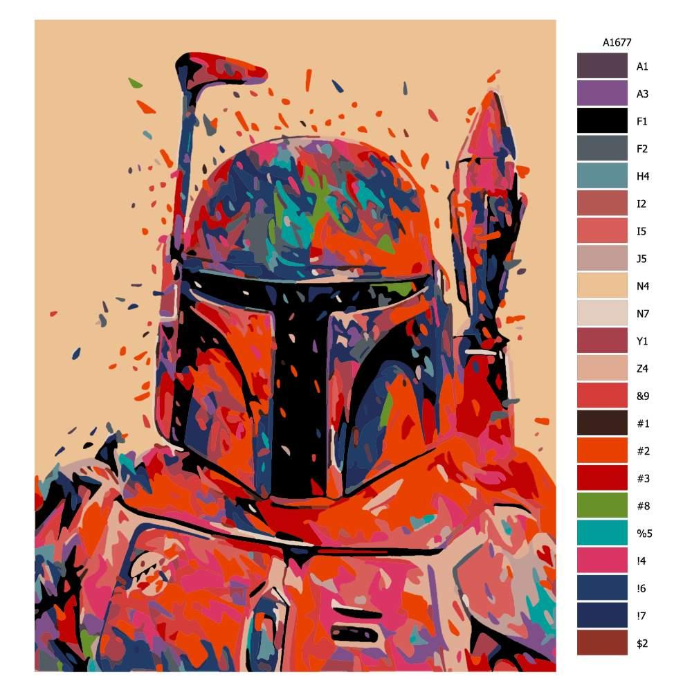 Návod pro malování podle čísel Mandalorián v barvách