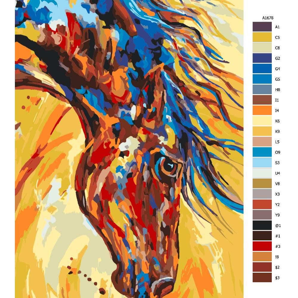 Návod pro malování podle čísel Rozzářený s hřívou