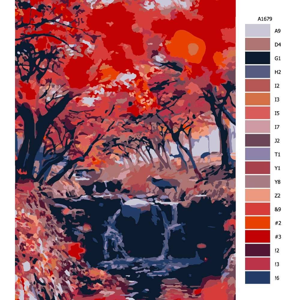 Návod pro malování podle čísel Rudý les