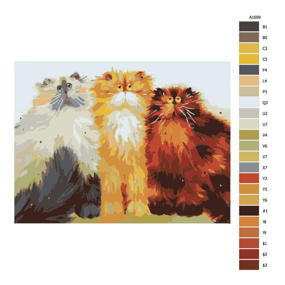 Návod pro malování podle čísel Tři chlupačci