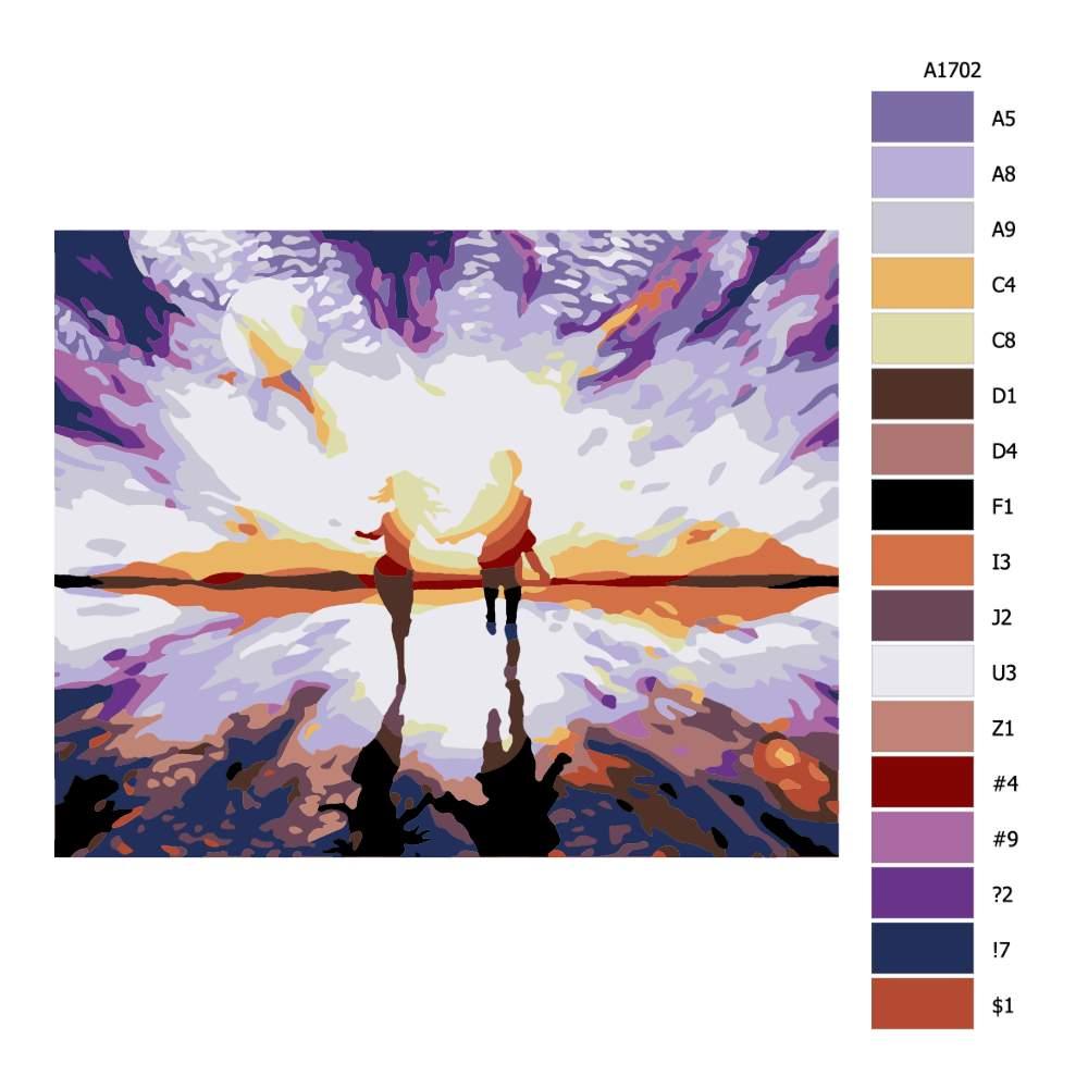 Návod pro malování podle čísel Ve dvou proti slunci