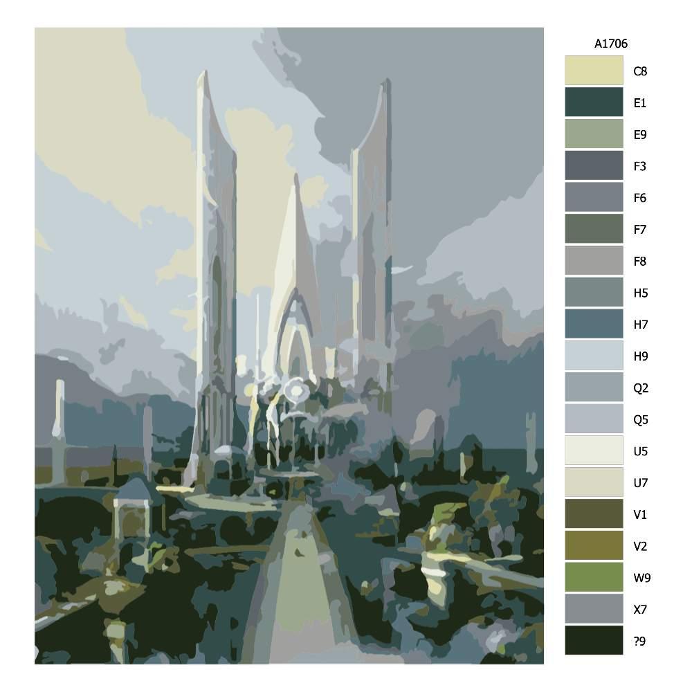Návod pro malování podle čísel Město panovníka