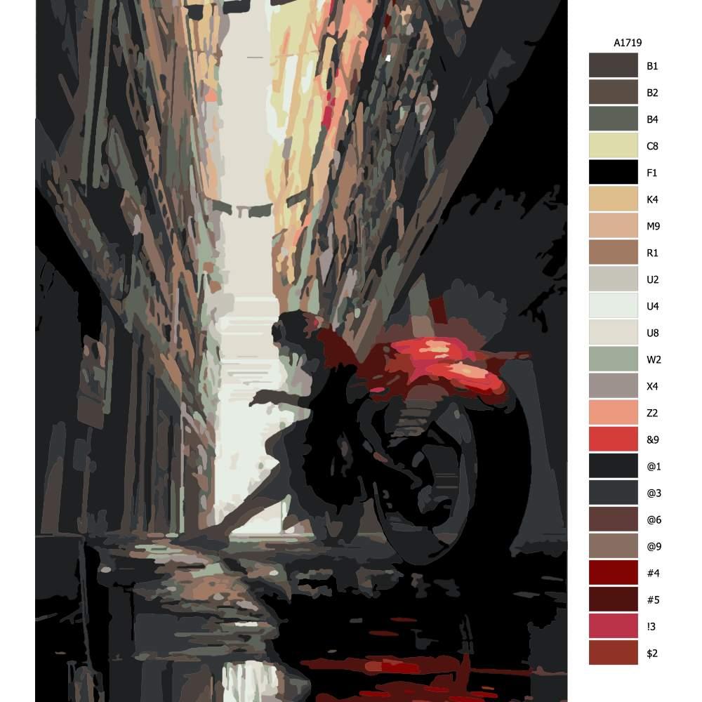 Návod pro malování podle čísel Opřen o motorku